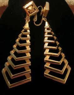 "Earrings Trifari abstract dangle vintage long goldTone large clip-on 2½"" jewelry #Trifari #DropDangle"