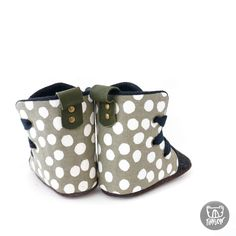 Army Green Spot Soft Sole Baby and Toddler Hightop Shoes handmade in New Zealand Toddler Sneakers, Toddler Shoes, Baby Booties, Baby Shoes, Hightop Shoes, Boxing Boots, Dress Up Boxes, Shoes Handmade, Adventure Gear