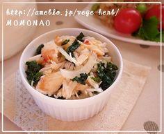 大根葉とカニと玉葱のサラダ