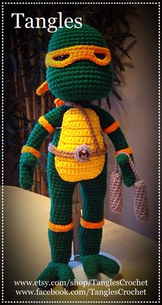 Ninja Turtle Inspired 16 Doll Amigurumi Ready to Crochet Doilies, Knit Crochet, Crochet Hats, Crochet Afghans, Big Head Baby, Crochet Classes, Cute Owl, Ninja Turtles, Baby Dolls
