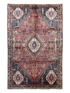 """Authentic Hand-Knotted Persian Kashkayi Rug (5'3""""x8'4"""") by Bashian Rugs at Gilt"""