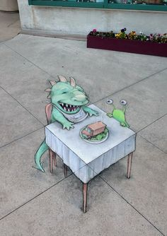 """Sluggo had not realized there was more than one definition of """"food truck."""" David Zinn, with Sluggo and Kerrytown District Association at Kerrytown Market & Shops of Ann Arbor, MI. Murals Street Art, 3d Street Art, Street Art Graffiti, Graffiti Artists, David Zinn, Pablo Picasso, Chalk Artist, New York Graffiti, Colored Chalk"""