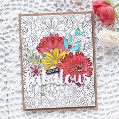 MFT Bundles of Blossoms; MFT Fabulous die; word die; partial coloring; Zig