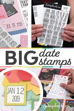 Bigger is better and these date stamps are the next BIG thing! Whether you're putting the date and year on a scrapbook layout or creating cards with a special date in mind, this affordable stamp set is the answer. Scrapbook Pages, Scrapbooking, Be Organized, Number Stamps, Big Thing, Alphabet And Numbers, Stamp Collecting, Journal Cards, Planner Stickers
