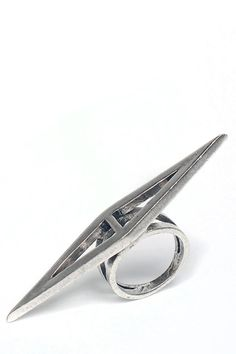 Low Luv x Erin Wasson Double Triangle Ring in Palladium - Jewelry > Rings Jewelry : Azalea Boutique - StyleSays