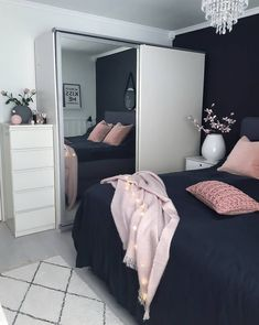 black, pink small bedroom