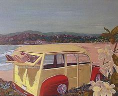 Woody car Hawaii with Frangipani - Gouache on box canvas. Original. UNFRAMED. by JulieToffoloART on Etsy