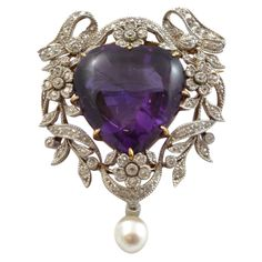 Edwardian Bailey, Banks & Biddle Amethyst & Diamond Heart Pendant Mounted In 18k Gold And Platinum - United States   c. 1905   -   1stdibs.com
