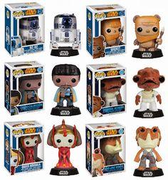 Star Wars Pop! Series 4 Vinyl Figures by Funko - R2-D2, Wicket the Ewok, Lando Calrissian, Admiral Ackbar, Queen Amidala & Jar Jar Binks