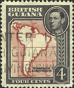 British Guiana stamp with map