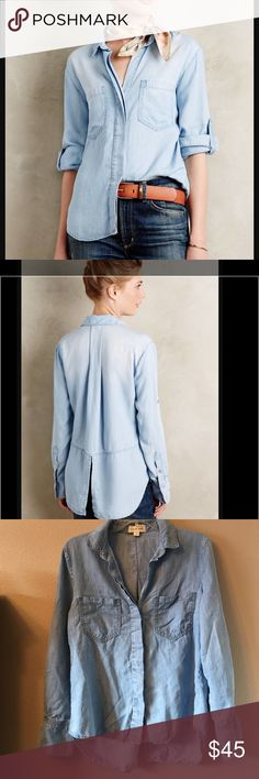 New Listing! Split-back Chambray Buttondown Gorgeous Anthropologie cloth & stone buttondown. High-low hem, buttondown, pockets in front, split back -super soft and cozy. Excellent used condition- just needs some iron love! size small- 17.5 inches across chest and 28 inches in back. Anthropologie Tops Button Down Shirts