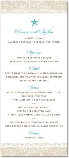 A stylish wedding menu card with a starfish design. A great option for beach or destination wedding receptions.
