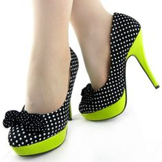 """Womens Hot Polka Dots Bow High Heel Platform Stiletto Pumps"""