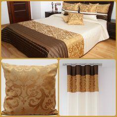 Elegantný dekoračný spálňový set hnedo-zlatej farby