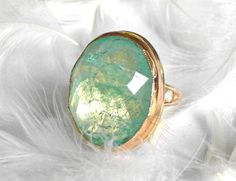 37.5 Carat Emerald Cocktail Ring, Recycled 22k, 18k, 14k Gold, One of a Kind Handmade by Michelle Lenae Jewelry