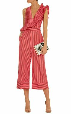 Ruffle-Trimmed Striped Jumpsuit by MSGM Now Available on Moda Operandi Ruffle Jumpsuit, Striped Jumpsuit, Summer Jumpsuit, Jumpsuit Outfit, Red Jumpsuit, Striped Knit, Mode Style, Jumpsuits For Women, Casual Outfits