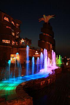 Fountain illuminated with rainbow colors, Enoshima island, Fujisawa, Kanagawa, Japan