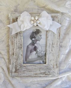 Wedding White Wash Picture Frame Shabby Chic Jeweled Bow on Etsy, $45.00