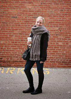 faux fur scarf & stuart weitzman 5050 boots