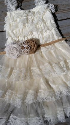 3c3a9612017 Rustic Ivory Flower Girl Lace Dress- Pettidress-Rustic Flower Girl Dress-Flower  Girl