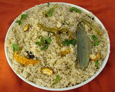 Rice with bay leaves