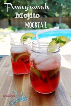 Pomegranate Mojito Mocktail Drink Recipe @SoberJulie.com #DrinkRecipe #Recipe #Summer