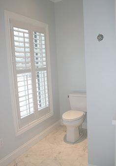 Love the window shutters. Even in a bathroom. Upper louvers and bottom louvers tilt seperately for great privacy control! Indoor Shutters, White Shutters, Interior Shutters, Window Shutters Inside, Bathroom Window Coverings, Bathroom Windows, Bathroom Window Privacy, Bathroom Cabinets, Bathroom Furniture