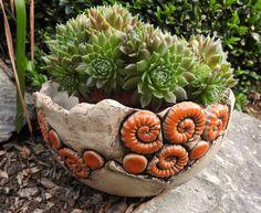 Schale Pflanzschale Keramik Frostfest Unikat Handarbeit töpfern Orange
