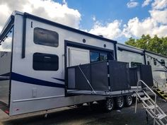 Enjoy Weather, Friends, Catch the Game on the Luxe Toy Hauler Side Patio! Add this option to Your Own Toy Hauler Luxury Fifth Wheel, Fifth Wheel Toy Haulers, Recreational Vehicles, Wheels, Weather, Patio, Game, Toys, Friends