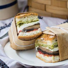 Pressed sandwich with marinated portobello caps, roasted red pepper, fresh mozzarella with Pesto and Tzatziki. Perfect for a picnic!