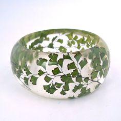 Fern Resin Bangle.  Green Bangle Bracelet.  Pressed Flower Bangle - Maidenhair Fern.  Real Flowers. Handmade Resin Jewelry. Anniversary Gift