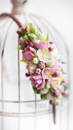 Floral crown - flower headband - floral head wreath - spring - sakura - clay flowers
