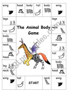 A really fun way to revise animal vocabulary (body parts). You just need a board game, a dice and coloured pencils. The first student to colour all the animal body parts wins! Animal Worksheets, Animal Activities, Animal Games, Preschool Activities, Montessori Science, Printable Worksheets, English Games, English Activities, Kids English
