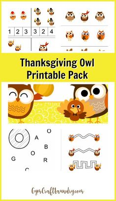 Thanksgiving Owl Lesson Printable Pack