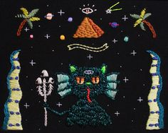 I Believe in Catlantis // Embroidery Art Print by BaobapHandmade
