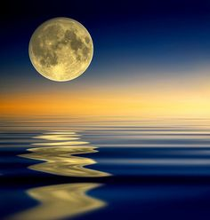 Moon, sky and water.