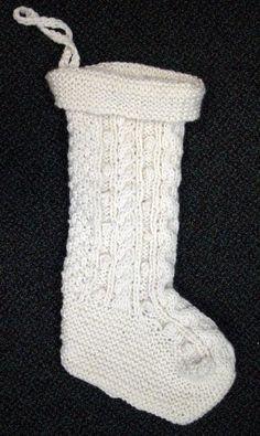 Irish Knit Christmas Holiday Stocking Pattern #65