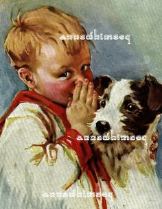 A Boy and his Dog  Restored Art Print  Sharing by annswhimsey, $12.00