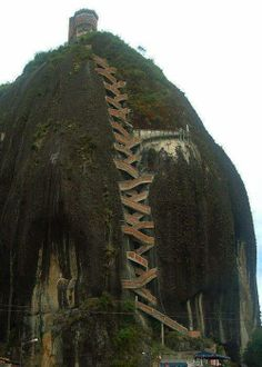 Would you climb the 659 stairs to the top, The Guatape Rock in #Colombia