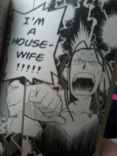Izumi Curtis, Fullmetal Alchemist, I'm a Housewife!! I love the way she yells this before kicking butt.