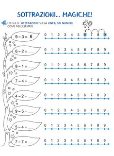 blog   le sottrazioni Kindergarten Addition Worksheets, First Grade Math Worksheets, 1st Grade Math, Preschool Worksheets, Math Subtraction, Preschool Learning Activities, Little Learners, Math Facts, Math For Kids