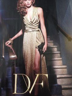 Shimmering gold gown, Diane von Furstenberg. Perfect draping- obviously for DVF.