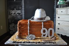 Western Theme 90th Birthday Cake Sugar Bee Sweets Bakery www.sugarbeesweets.com 90th Birthday Cakes, Western Theme, Party Cakes, Bakery, Bee, Sweets, Sugar, Celebration Cakes, Sweet Pastries