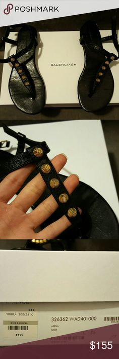 BALENCIAGA Arena Black and Gold Sandals (Used) Used with Box. Great Condition though. Soles are worn but that can be easily fixed with under  $20. Balenciaga Shoes Sandals