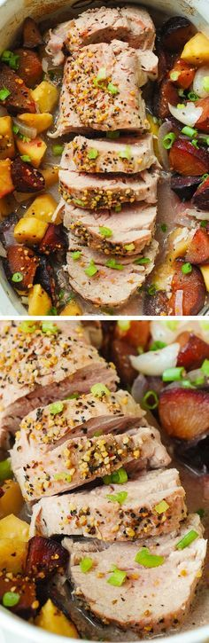 Oven roasted pork tenderloin, with apples and plums. The fruit perfectly complements the flavors of generously seasoned pork. Pork comes out juicy and moist every time! Super easy dinner recipe that you can make any day of the week! Gluten free recipe.