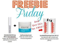 It is ALMOST FRIDAY!! And do I have a surprize for you!!  A FREE ESSENTIALS Lip Shield ($16 value) with your purchase of the Lip Serum today! What are you waiting for? Ask me: https://kristinkaufman.myrandf.com