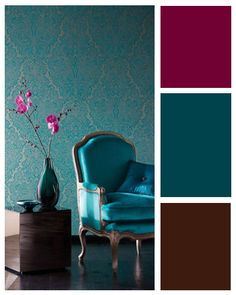 Look at this gorgeous Art Nouveau and Asian inspired palette. My parents' house has bright red accent walls (which honestly are annoying) but by changing the accent walls to teal, I can play around with red curtains and other small decor.