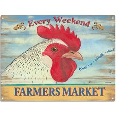 Farmers Market White Rooster Metal Sign | Kitchen Decor | RetroPlanet.com