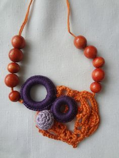Crocheted necklace, orange arabesque, bohemian crochet, bohemian necklace, boho chic,