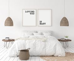 Excited to share this item from my #etsy shop: Loving you is easy printable - Above bed print - Nursery print - bedroom poster - bedroom printable wall art - family quotes - nursery decor